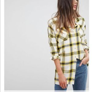 Noisy May Tall Oversized flannel shirt L